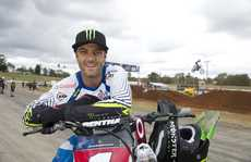 Jay Marmont takes a break during practice for tonight&squot;s round of the Australia Supercross Championships.