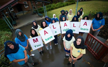 Students joined in a peaceful sit-in protest at Coffs Jetty High School for Pakistani student Malala Yousafzai. Photo: Trevor Veale