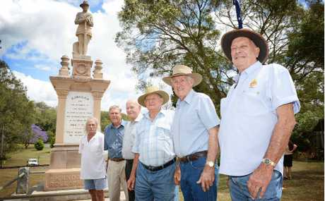 Peter Beebar, David Sims, Keith Haack, Kev English, John Williams and Phil Jensen show their gratitude to the State Government and the council for their work in ensuring wartime sacrifice will never be forgotten.