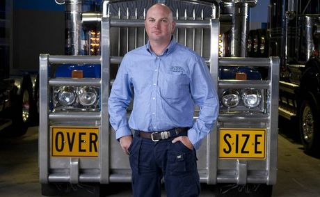 Jon Kelly will show off his new toy, a Mack Titan 685hp MP10 to journalists tomorrow.   Here he poses for last year's Mega Truckers promo.
