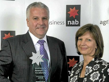 EXPORT EXCELLENCE: Winner of the prestigious Export Award at the NAB Agribusiness Awards for Excellence Terry Nolan of Nolan Meats with Helen Bartlett of sponsor Monash University Gippsland.