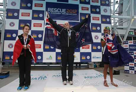 Natalie Peat after winning the under-20 200m obstacles race at the Rescue 2012 world lifesaving championships in Adelaide.