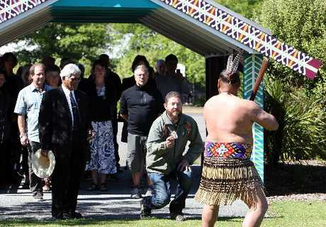 WHOLE COMMUNITY: Ngati Kahungunu kaumatua Jerry Hapuku (left) escorts American organic supermarket executives David Posner from Awe Sum Organics, John LaMacchia and John Walker from Whole Foods Market on to Te Arangi O Heretaunga Marae. PHOTO/PAUL TAYLOR HBT124315-03