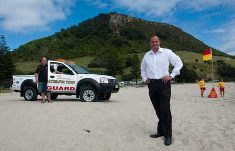 Mount Lifeguard Service chairman Paul Treanor (left), Mike Farmer and lifeguards Matthew Kriel and Alex Sefton with the club's new Nissan.