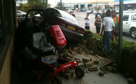 A car crashed into a mower shop in South Grafton today.