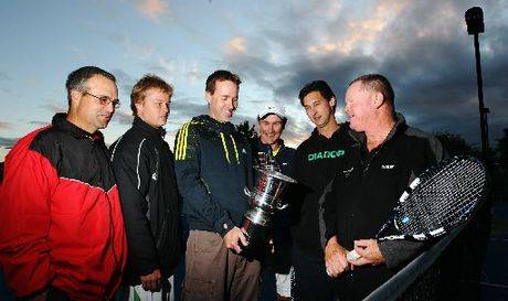 TOP JOB: Five of the six captains in the Hawke's Bay premier men's interclub tennis competition, from left, Craig Giddy, Reuben Cooper, Damon Curtis, Luke Donovan and Jason Kitching admire the Hawke's Bay Today Cup with competition organiser Trevor Hinton.