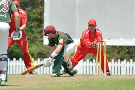 Action between The Scorchers and Souths at John Blanck Oval. Ben Turner is stumped by Gerard Flegler off the bowling of Alex Day. Photo: John McCutcheon / Sunshine Coast Daily
