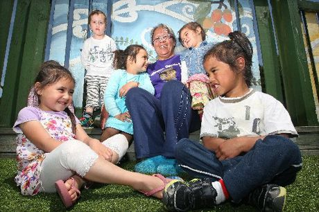 RECOGNISED: Jocelyn Callaghan was one of the Rotorua community leadership award recipients. She is pictured with (clockwise from bottom left) Dani Irihei, 4, Taokahu Allen, 4, Shiya Butler, 4, Bella Wharekura, 3, and Wepiha Webster, 3.