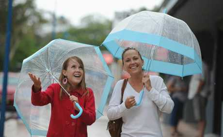 Heavy rain wasn't enough to deter mother and daughter Mackenzie and Bronwyn Wright from getting out on the weekend.