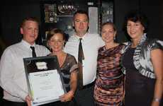 Your Garden Centre and Organic Cafe, Ryan McLintock, left, Monica Topliss, Bruce Bayley and Fran Leman with Robyn Pinel of TAFE at the Sunshine Coast Business Awards 2012