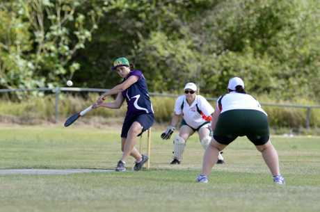 Action from the Pennants representative vigoro game between Ipswich (white) and Fassifern (purple). Photo: Claudia Baxter / The Queensland Times