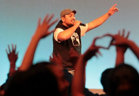 LIFE CHANGING: Flaxmere rapper Tipene06 performed his song Letter to the Stars about his nephew Richard Starr Harmer who was killed in a drink drive accident in 2007, at the Keep It Real alcohol and drug expo in Hastings yesterday.
