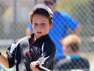 FANCY FINN: New Zealand under-12s representative Finn Reynolds on his way to a 6-3, 6-3 win against Max Brewster during Saturday&#39;s first round in Hawke&#39;s Bay&#39;s premier men&#39;s tennis competition at Onekawa.