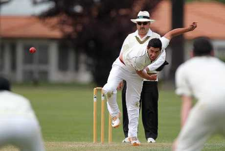 COMING THROUGH: Hawke's Bay seamer Liam Rukuwai asks the question of a batsman as umpire Mark Elliot (Wairarapa) presides in the Hawke Cup cricket match against Horowhenua-Kapiti at Nelson Park, Napier, yesterday.