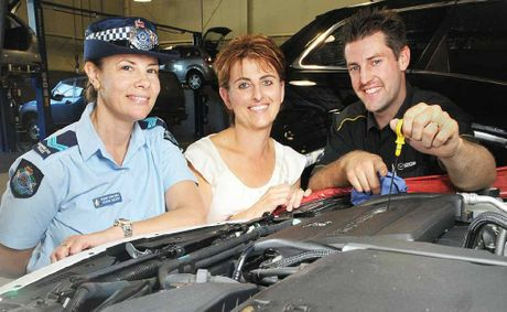 TIPS: Senior Constable Kerrin Sheedy, Sophie Dowe and mechanic Matt Crook discuss some car maintenance tips.