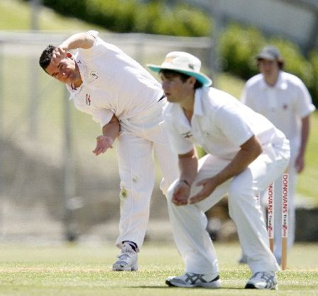 ON ATTACK: Onerahi bowler Dewayne Bowden in action at Cobham Oval on Saturday.