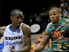 Cedric Jackson of the Breakers drives against the Townsville Crocodiles' Gary Ervin.
