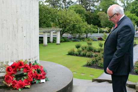 REMEMBRANCE: RSA Otago/Southland District president John Longman lays a wreath at the Garden of 