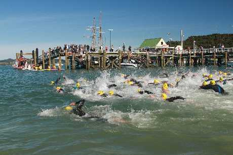 BIG SPLASH: The start of the Russell Paihia State New Zealand Ocean Swim.