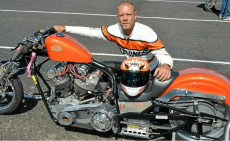"Mark ""Frog"" Woods is ready to race in the nostalgia bike class at the Warwick Dragway."