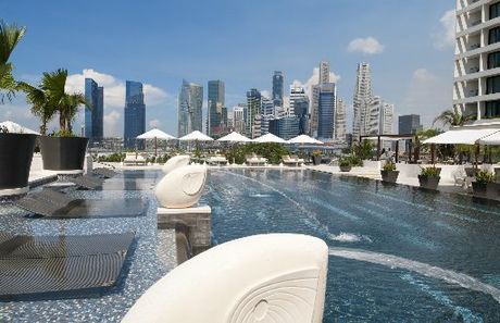 REFRESHING: Singapore's Mandarin Oriental pool deck.