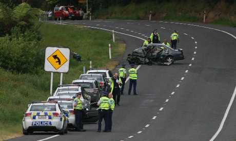 Police at the scene of a fatal accident outside Katikati on SH2.