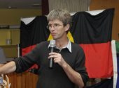 Dr Mark Copland speaks at the Reconciliation Week lunch at the Cathedral Centre.