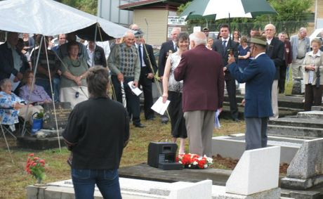 President of the Murwillumbah RSL Sub Branch, Mr Derek Sims, OAM, speaks to Sue McGarva, a close family friend of Pte Harry Simpkins MM. Photo: contributed