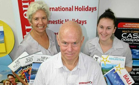 Casino Travel Shoppe owner John Dougall with senior travel consultants Claire Grantham-Smith (back left) and Sarah Bird.