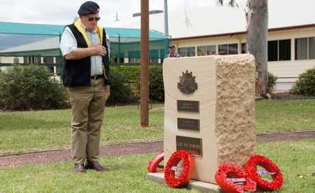 MOVING MOMENT: Veteran Doug Schmidt lays a wreath to remember his fallen comrades at Dalby's Anzac Park.