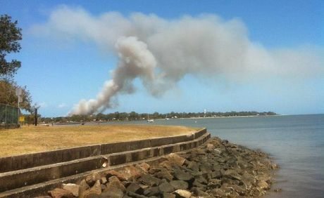 Reader snapshot of the smoke from the fire at Bongaree on Tuesday.