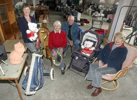 GOODS GALORE: Alzheimers Wairarapa president Jenny Baker (left) with volunteers Barb and Rod Griffith and committee member Mary Aitkenhead, who have been preparing for Saturday&#39;s garage sale.