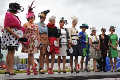 Finalists line up for the announcement of the Best Dressed Woman at Cup Day