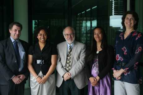 Adrienne Paul, second from left, and Kiriana Waru, second from right, were the recepients of the Dame Te Atairangi Kaahu Scholarships. Pictured after the awards ceremony, with from left, Waikato Regional Council chairman Peter Buckley, Waikato-Tainui executive board chairman Tom Roa and regional councillor Paula Southgate.