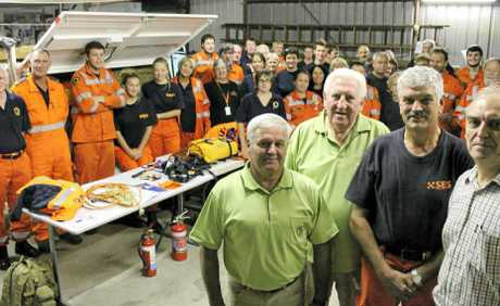 DONATION: Ballina SES local unit controller Gerry Burnage (second from right) and volunteers, accept a cheque from Ballina-on-Richmond Rotarians (from left) Col Lee, Milton Colburt and Trevor Emery.
