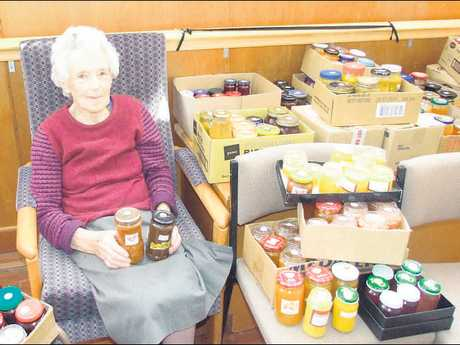 Jean Forbes with some of the preserves, chutneys and jams she made in readiness for the St Andrew's Church fair held on Saturday.