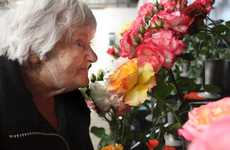 IN BLOOM: Noeline Shaw tests a rose for perfume. She said Waverley had one of the best shows in New Zealand.PHOTO/ BEVAN CONLEY