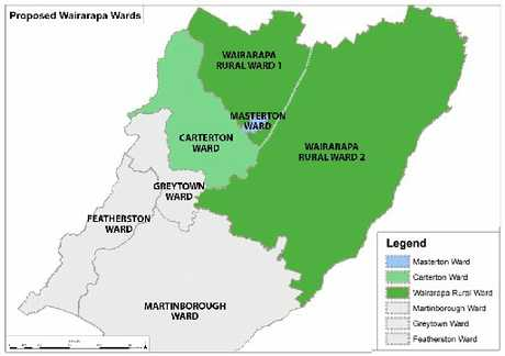 REALISTIC: The wards for Wairarapa as proposed by the working party (the boundary line between the two rural wards is approximate). PHOTO/SUPPLIED