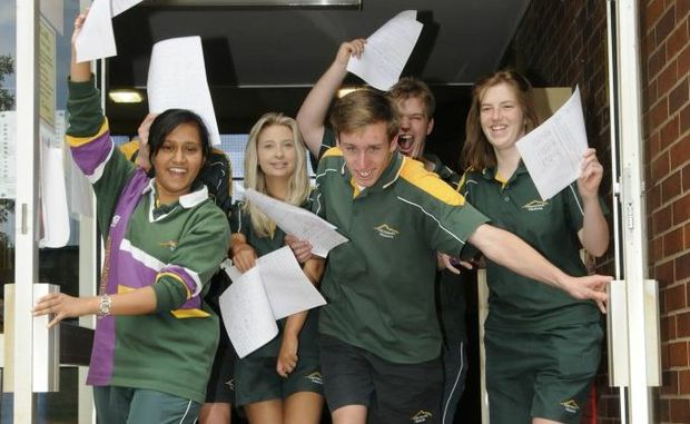 Centenary Heights Year 12s (from left) Maisha Rahman, Joel Dobson, Katrina Taylor, Keith Hacquoil, Lachlan Webb and Carlie Williams are excited about their last day of school.