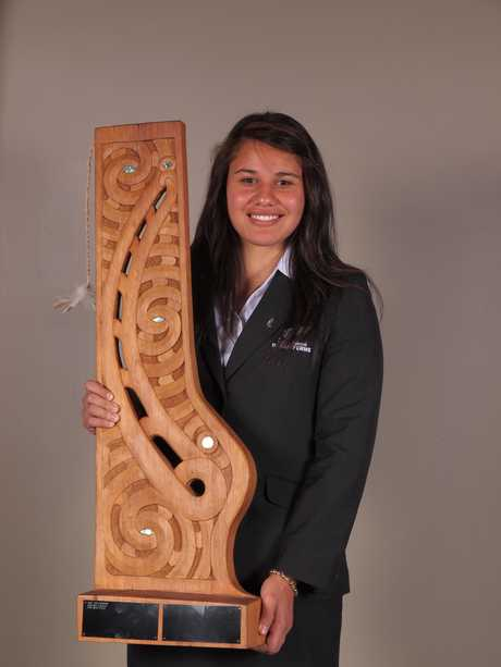 WINNER: Shakira Baker with the handsome trophy after being named 2011 Wairarapa Maori Sportsperson of the Year.
