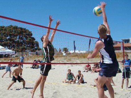 Beach volleyball action from the BOP Secondary Schools championships.
