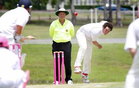 COMING YOUR WAY: Centrals bowler Nick Vellacott in Ipswich grade cricket action.
