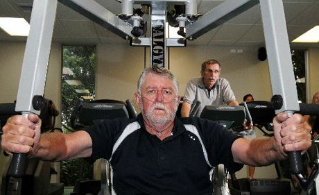 Brian Holyoake front with Peter Warmke pictured at the Pettigrew Green arena gym. FILE