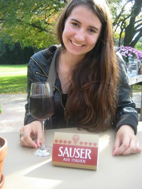 Jessie Gretener enjoying a sauser in Switzerland.