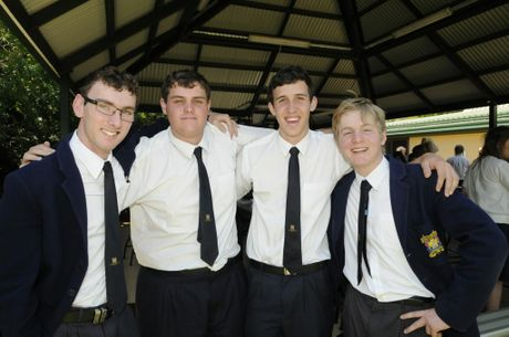 Nathan Essex (left) with friends Aaron Sheehan, Lincoln Roberts and Eamon Ward. The group completed all of the schooling together at Toowoomba Christian College.