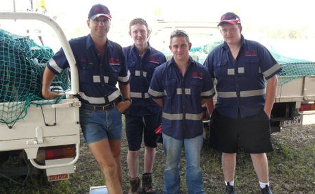 Oakey grain farmer (left) Evan Horton with Irish backpackers Dermot Oliver, Paul McGrath and Anthony Breedy. Mr Norton is one of many Darling Downs farmers who hires migrant workers to help out.
