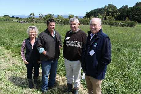 WOVEN TOGETHER: Farmers Carina and Grant McGhie with Landcorp national manager Phil McKenzie and QEII national president James Guild, part of the team who got a rare piece of South Wairarapa flaxlands protected.