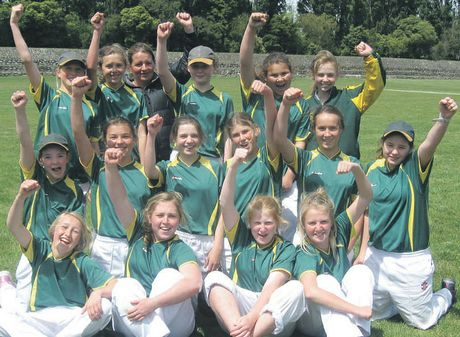 The Havelock North Intermediate girls' first XI cricket team celebrate after booking a berth in the New Zealand Shield finals late this month after winning their play-offs in Masterton. Photo / Supplied