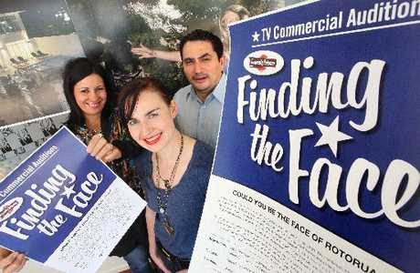 FINDING THE FACE: Destination Rotorua Marketing is searching for a local star to lead their advertising campaign. Pictured (from left) are Kelly Stewart, Jenha White and Oscar Nathan from Destination Rotorua Marketing.