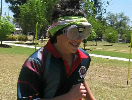 LOOKIN' GOOD: Warwick High year 12 graduate Ryan Grady strapped on his beer goggles for the Think the Drink.